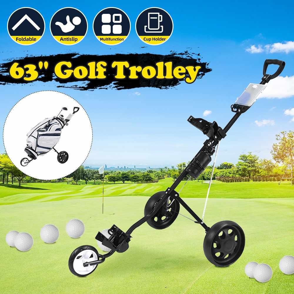 3 Wheels Golf Trolley Professional Folding Golf Bag Trolley Outdoor Sport Multifunctional Supplies Foldable Push Pull Golf Cart