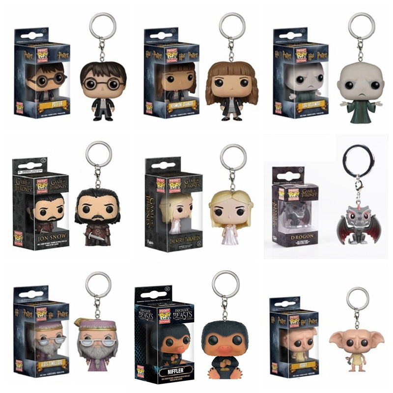 Wonder Woman Keychain Harri Potter Dobby Naruto Dragon Ball Vegeta Harley Quinn Tony Stark  Action Figure Toy Deadpool PVC Toys