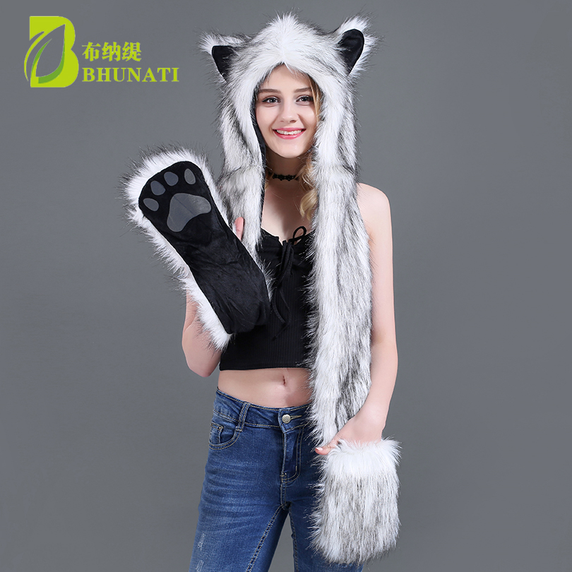 Hood-Hat Gloves Scarf Animal-Cap Wolf Faux-Fur Warm Plush Ear-Flaps with Hand-Pockets