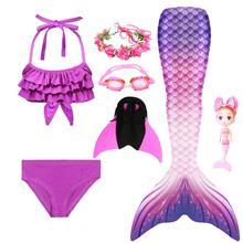 Traje de baño de cola de sirena para chicas en Bikini, traje de baño de sirena con muñeca de sirena, peluca de sirena y Guirnalda, novedad de 2020