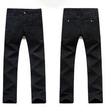 Men Autumn Winter Plaid-Checked Pocket Long Slim Trousers Office Dress Pants