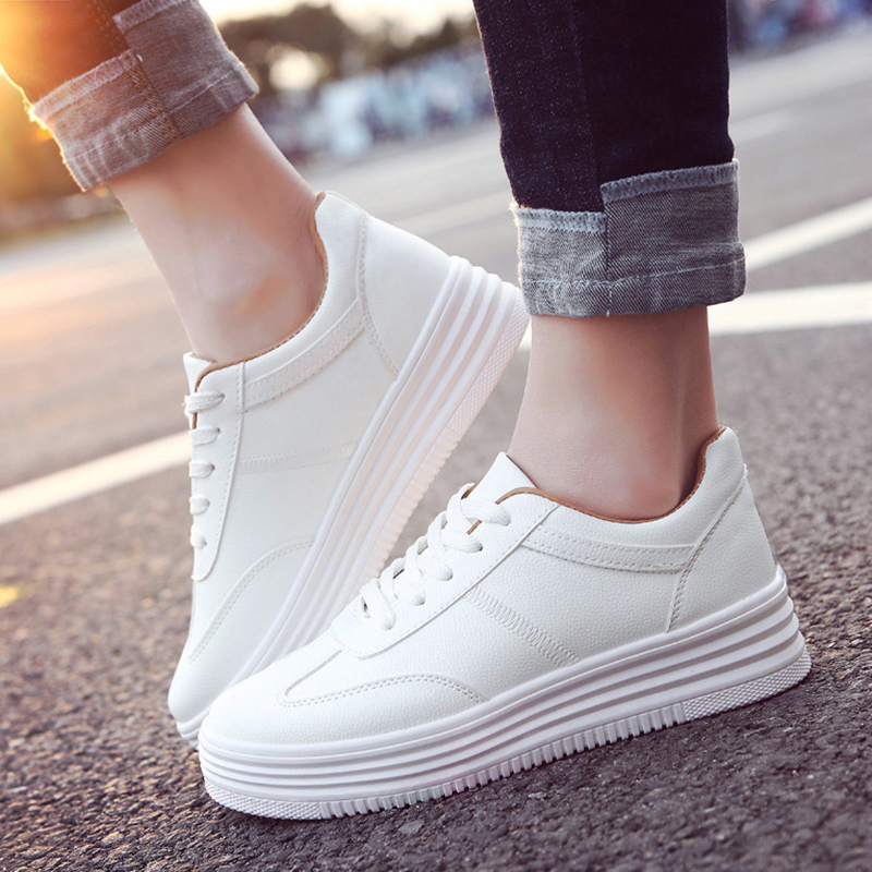 2020 Fashion New Tenis Lace-Up White Shoes Woman Breathable Pu Leather Solid Color Female Shoes Casual Women Shoes Sneakers 1