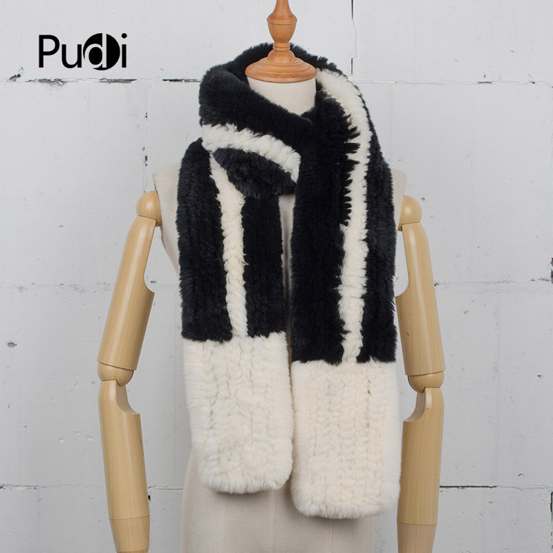 Pudi SF759  Winter warm real fur scarf  2020 new girl fashion REX rabbit fur long scarves rings beige color