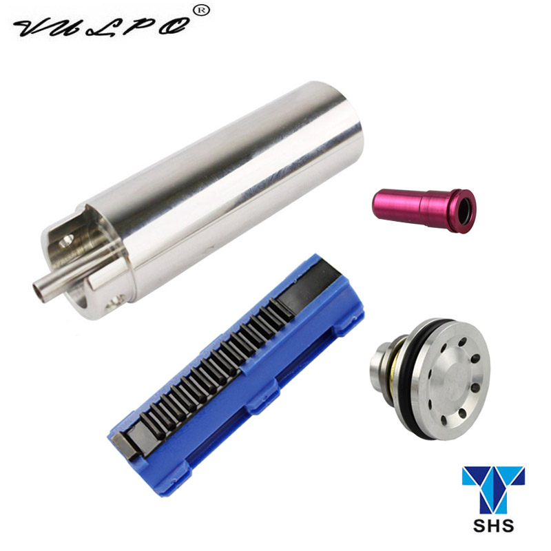 SHS 14 Teeth Piston Stainless Steel CNC Milled One-Piece Solid Cylinder Built-in Cylinder Head Piston Head Nozzle For Airsoft