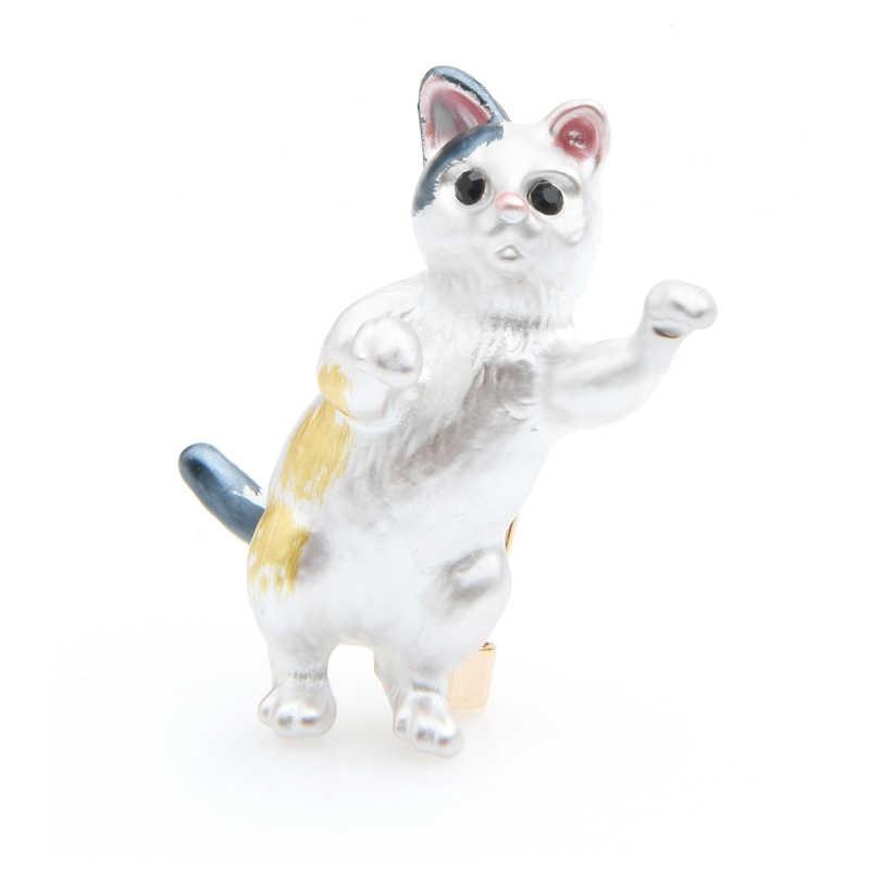 Wuli & תינוק יפה עומד חתול סיכות נשים אמייל בעלי החיים מקרית המפלגה סיכת ראש השנה מתנות