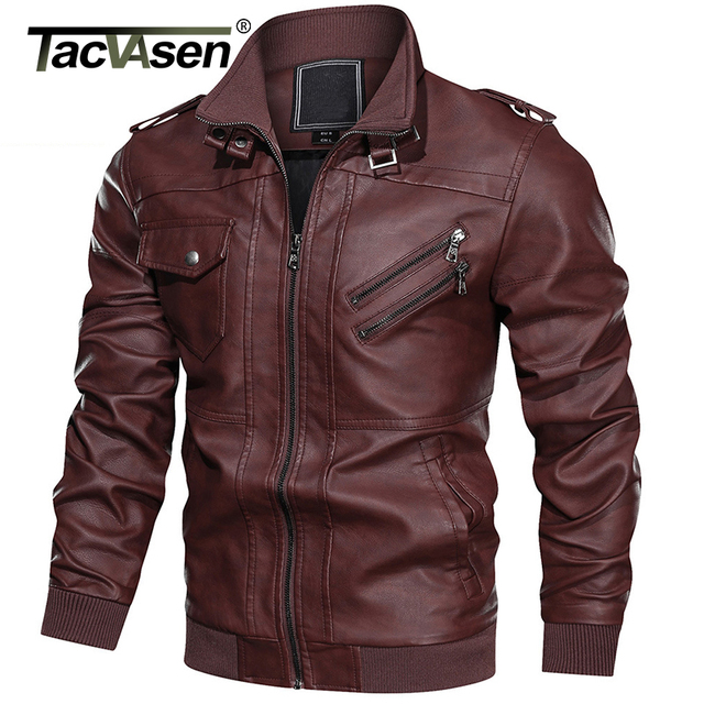 TACVASEN Autumn Leather Jacket Men Multi-pockets Motorcycle Biker Faux Leather Jackets Vintage Casual PU Leather Jacket Coat Men