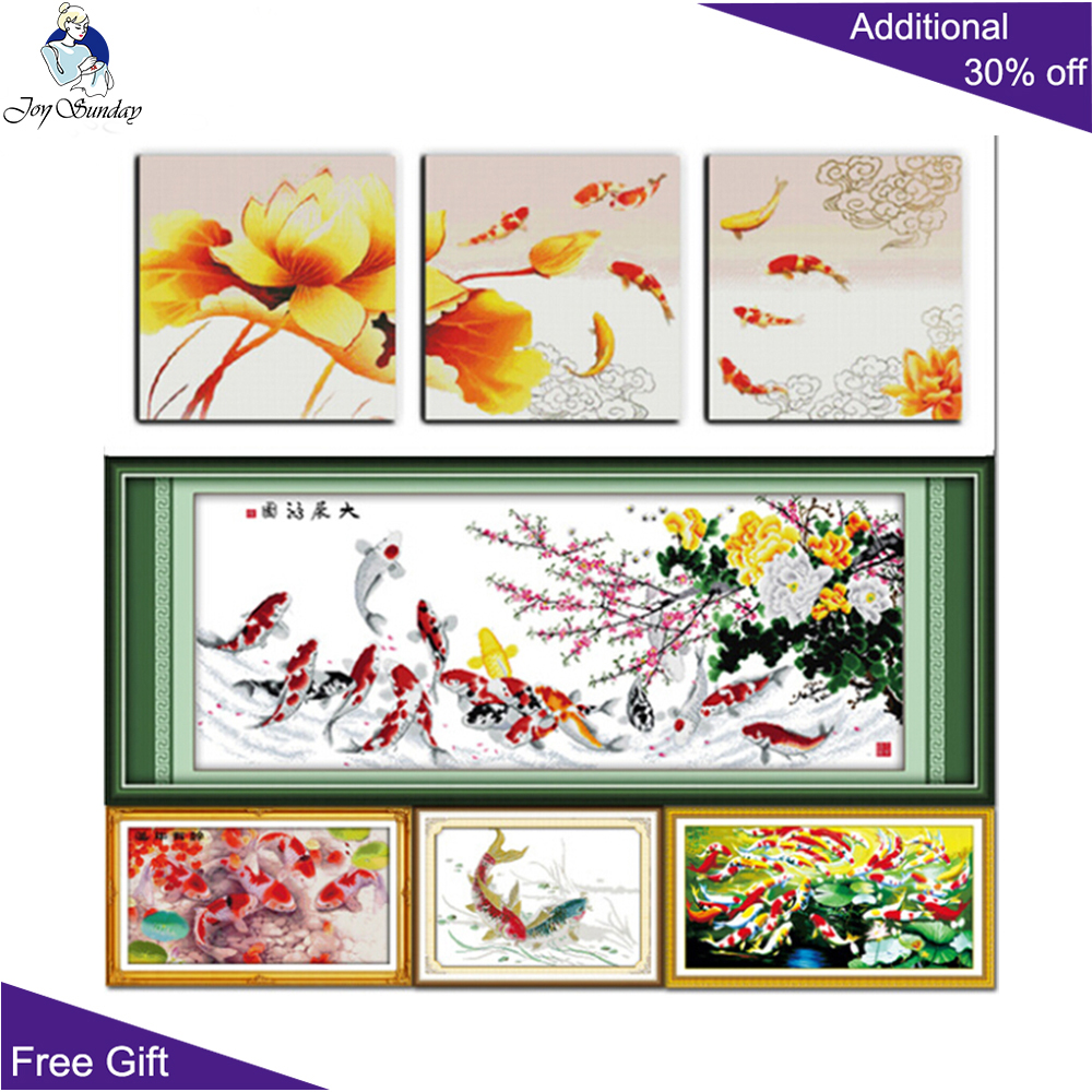 Joy Sunday Fish D024(4)D026D157D164D166 Fish Flowers Fortunes In Flourishing Ages Carps Surplus Year After Year Cross Stitch Set image