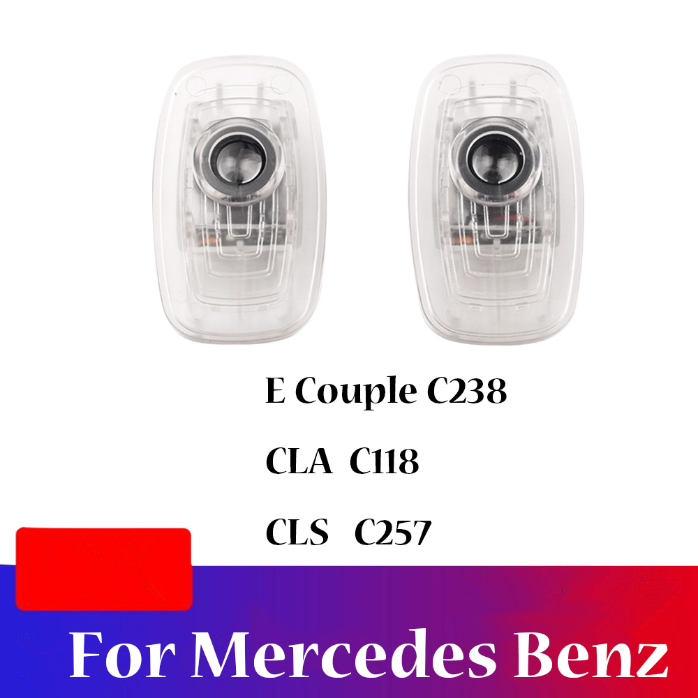 For Mercedes <font><b>Benz</b></font> E Coupe CLA CLS Class <font><b>C238</b></font> C118 C257 2017 2018 2019 2020 2 Pieces Car Door Welcome Light Ghost Shadow Lamp image