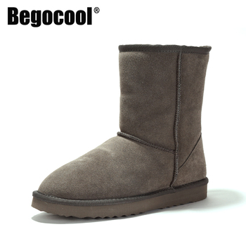 Begocool Womens Snow Boots Genuine Cowhide Leather Australia Warm Winter Boots Woman Shoes Girls Mujer Botas Grey B2503 showfun genuine leather shoes woman grit cowhide solid square heels boots