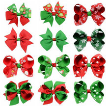 Xmas Baby Girls Children Toddler Flowers Hair Clip Bow Accessories Barrettes Hairpin Elastic Bow knot Head wear Gift Jewelry(China)