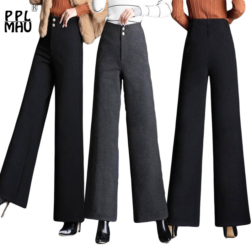 Women Wool   Pants   Street Wear Fashion Plus Size 4XL Elastic High Waist   Wide     Leg     Pants   Ladies Office Casual Autumn Winter Trousers