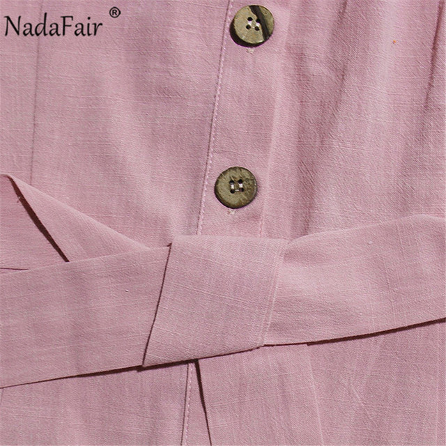 Nadafair Summer Casual Playsuit Women V Neck Belt Tunic Black Orange Pink Solid Overalls For Women Short Jumpsuit 6