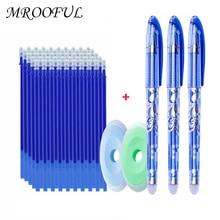 55pcs/lot Magic Erasable Pen Refills Rod Bear Cat Erasable Gel Pen Set Washable Handle 0.5mm Erasable Ink Pen Writing Stationery