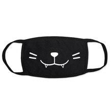 Модные черные маски для рта, уличная моющаяся ветрозащитная противопыльная маска для ушей, забавная маска с принтом, защитная дышащая маска