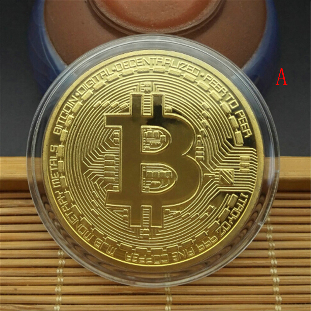 Gold/Silver Plated Bitcoin Collectible BTC Coin Pirate Treasure Props Toys For Halloween Party-3