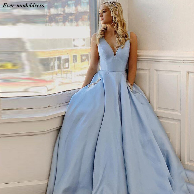 Sky Blue Simple   Prom     Dresses   Long with Pockets Appliques Sweep Train A-Line Formal Gowns Evening Party   Dress   Robe De Soiree