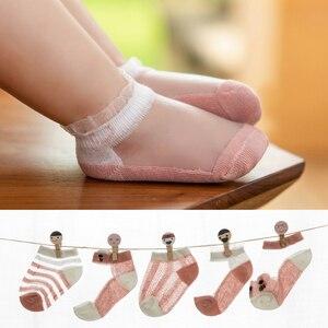Enfants coton été bas coupe chaussettes enfant en bas âge filles garçons maille mince mignon rayure Transparent chaussette courte nouveau-né infantile bébé accessoires