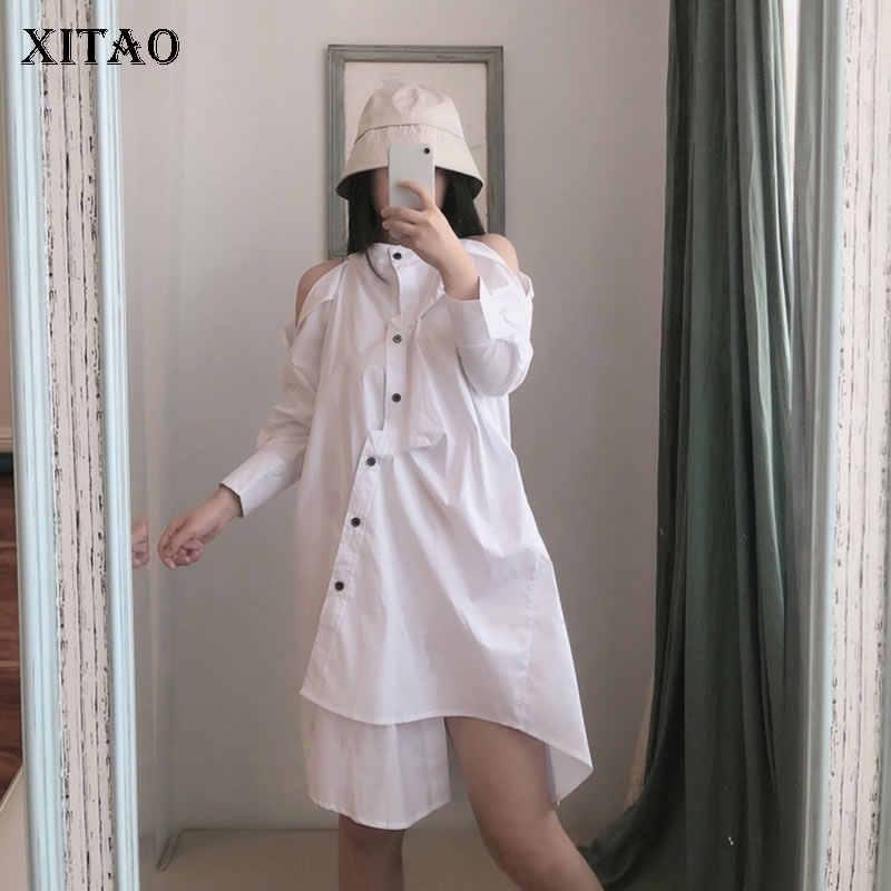 XITAO сексуальный топ с открытыми плечами нерегулярное белое платье женская одежда 2019 корейская мода Стенд воротник длинный рукав осень новый GCC1281