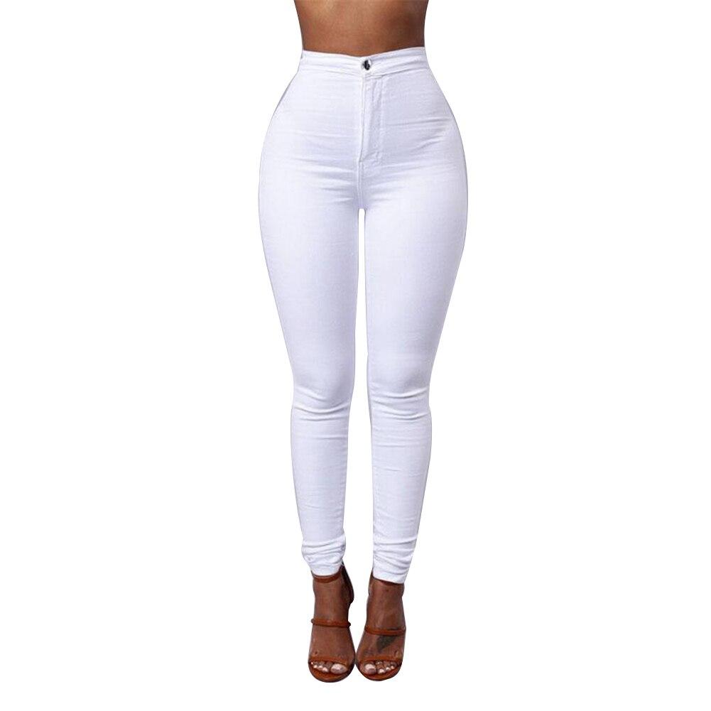 Fashion Women Solid Color Denim Tights Leggings Skinny Pencil Pants Slim Jeans 2