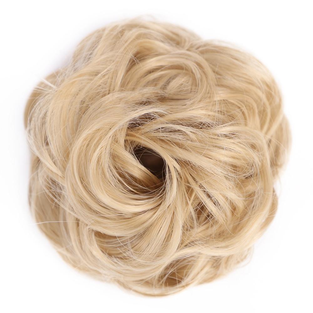 Пучок волос кудрявый Dount Updo синтетические Scruchies эластичный зажим в шиньон для наращивания шиньон аксессуары для волос Термостойкое волокно - Цвет: 27-613