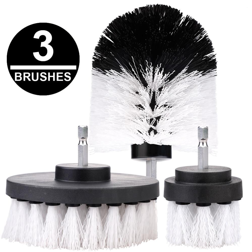 3Pcs/Set Electric Drill Brush Kit Plastic Round Cleaning Brush For Carpet Glass Car Tires Nylon Brushes Power Scrubber Drill