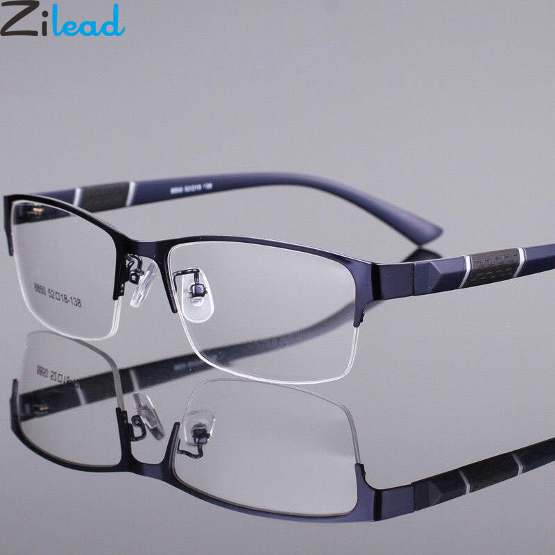 Zilead Half Frame Alloy Finished Myopia Glassse Ultrlight  Clear Lens Nearsighted Glasses Prescription Eyeglasses0 -1.0to-6.0