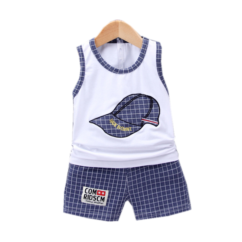 New Children Cotton Clothing Cute Baby Boy Girl Embroidered Hat Vest Shorts 2Pcs/Sets Infant Cartoon Fashion Clothes Tracksuits
