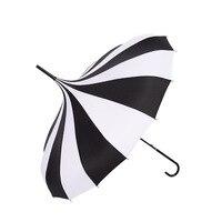 2020 novo estilo preto e branco listras 16k pólo reto longo lidar com todos os tempos guarda-chuva