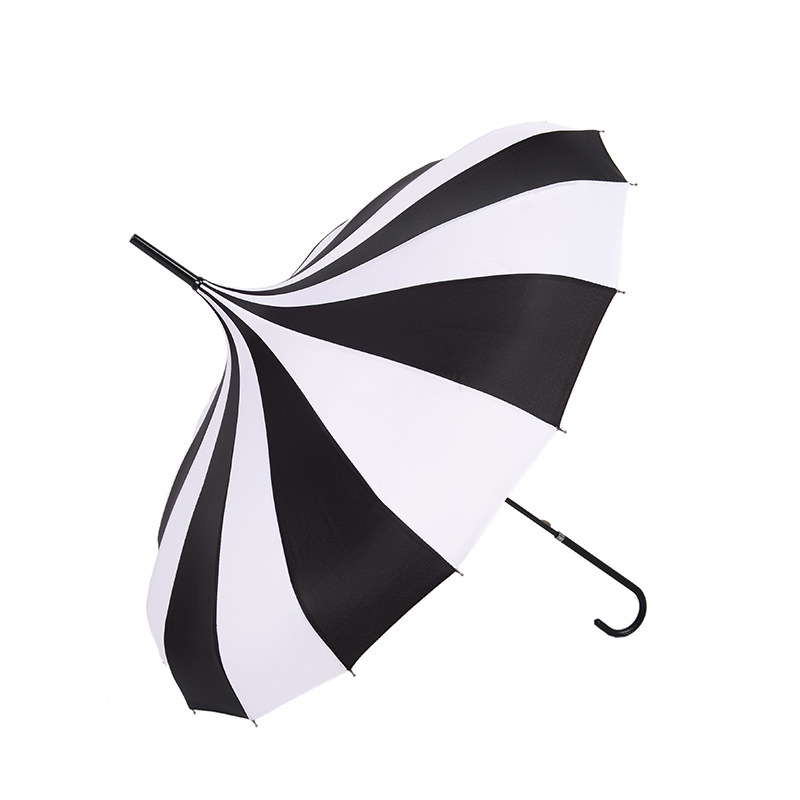 Currently Available Wholesale New Style Black And White Stripes Bao Ta San 16K Straight Pole Long Handle All-Weather Umbrella Cr