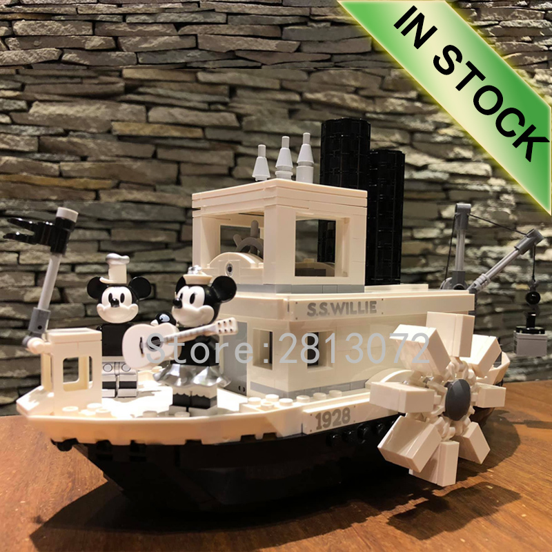 In Stock 21317 New Steamboat Willie Movie Ideas Model 841Pcs Building Blocks Bricks Kids Educational Toys Gifts 16062
