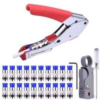 Kompression Werkzeug Kit Rg59 Rg6 Coax Crimpen Werkzeug Doppel Klingen Koaxialkabel Stripper mit 20Pcs Blau F Anschlüsse-in Zangen aus Werkzeug bei