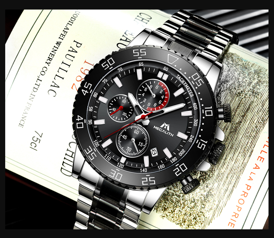 H876c4f52cad341e5888713fa3c910450P MEGALITH Military Watches Men Stainless Steel Band Waterproof Quartz Wristwatch Chronograph Clock Male Fashion Sports Watch 8087
