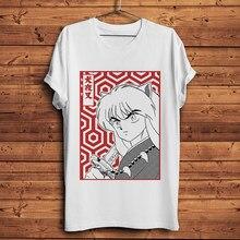 Inuyasha camiseta engraçada masculina, camiseta de anime nova branca casual com manga curta no japão