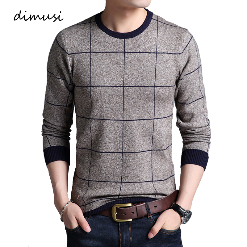 DIMUSI Autumn Winter Men Sweater Casual O-Neck Plaid Turtleneck Shirt Sweaters Men's Slim Fit Knitted Pullovers Brand Clothing