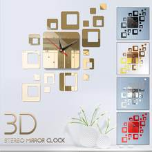 Square Wall Clock Sticker 3D Mirror Self-Adhesive Removable Mirror Wall Clock TV Background Acrylic Creative Diy Mirror Clock(China)