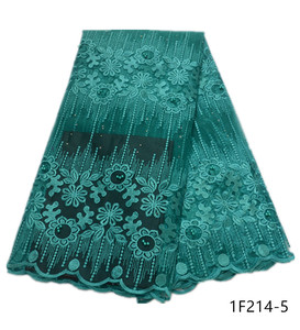Image 5 - Latest African Voile Lace Fabric Embroidered African Guipure Lace Fabric With Beads 2019 African French Net Mesh Lace 1F214