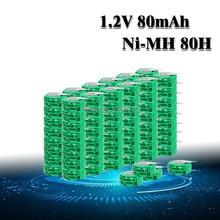 Volts recarregáveis 100 volts, baterias de botão recarregáveis ni-mh li-po de lítio e li-polímero de 80mah, moeda de botão, 10-1.2 peças bateria célula com pinos de solda