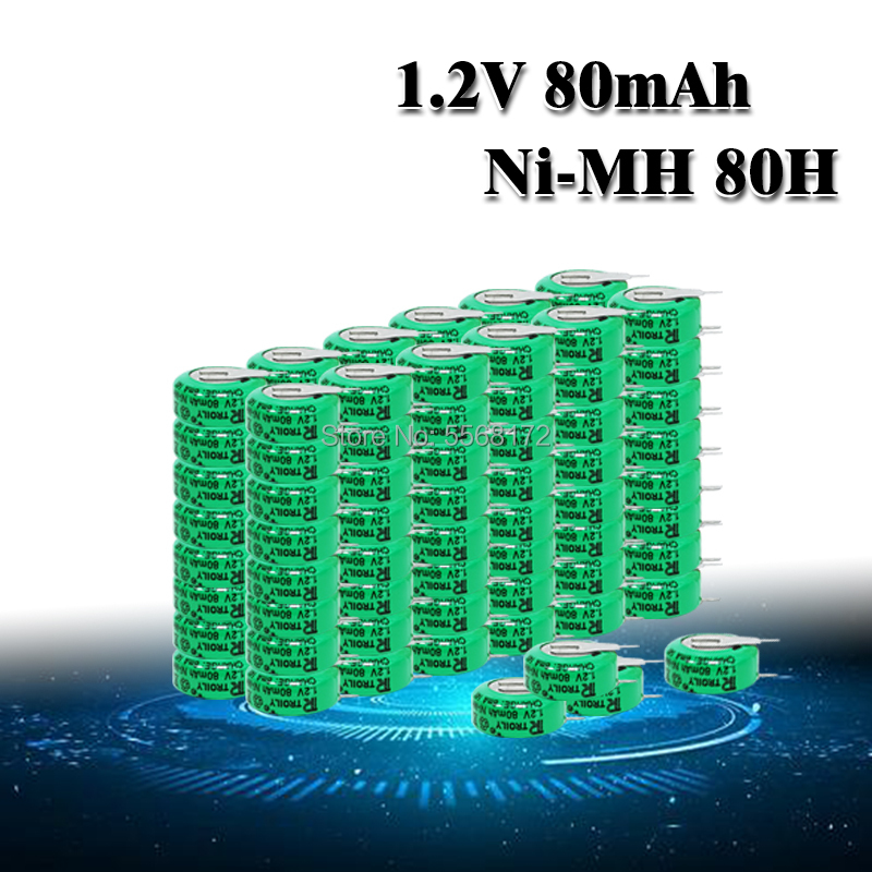 10-100pc Rechargeable 1.2 <font><b>Volt</b></font> 80mAh Ni-MH Li-Po Lithium Li-polymer <font><b>Batteries</b></font> Button Coin Cell <font><b>Battery</b></font> With Solder Pins image