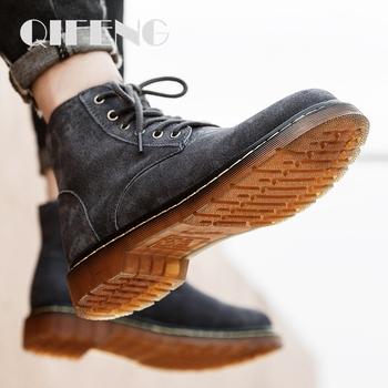 48 męskie skórzane buty moda szary Chelsea Boots zimowe ciepłe buty na pustynię mężczyźni Denim buty futro Suden botki letnie buty męskie tanie i dobre opinie QIFENG Podstawowe CN (pochodzenie) Flock ANKLE Stałe Cotton Fabric Okrągły nosek Zima Niska (1 cm-3 cm) 8916 Lace-up