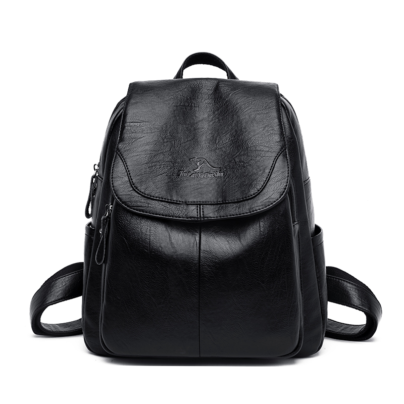 Texture High-end Atmospheric Backpack Suitable For Ladies Simple Wild Leather Soft Comfortable Large Backpack