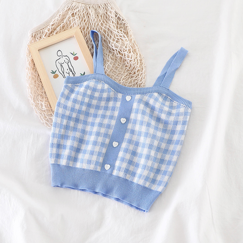 HELIAR Blue Plaid Buttons Spaghetti Camis Club Sexy Knitting Camisoles Female Tank Tops Ladies Sleeveless Vest Tops Women