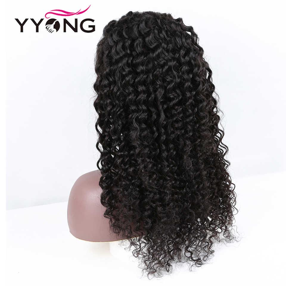 YYong 5x5 6x6 brezilyalı derin dalga dantel kapatma peruk ön koparıp Hairline ile bebek saç Remy 100% İnsan saçı peruk 150% yoğunluk
