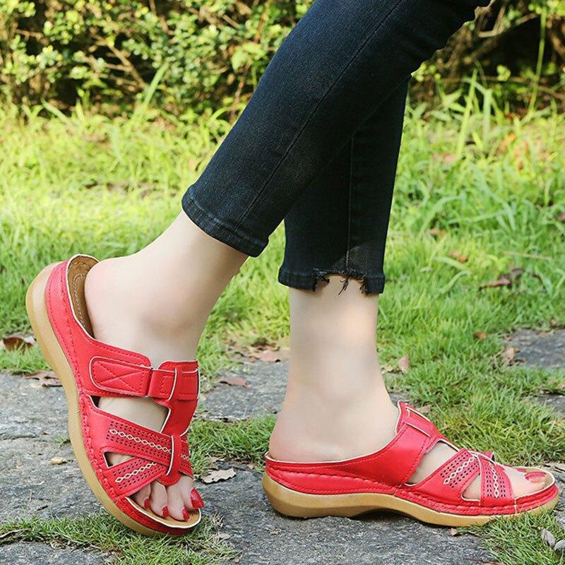 2021 Summer Women Wedge Sandals Premium Orthopedic Open Toe Sandals Vintage Anti-slip Leather Casual Female Platform Retro Shoes 5