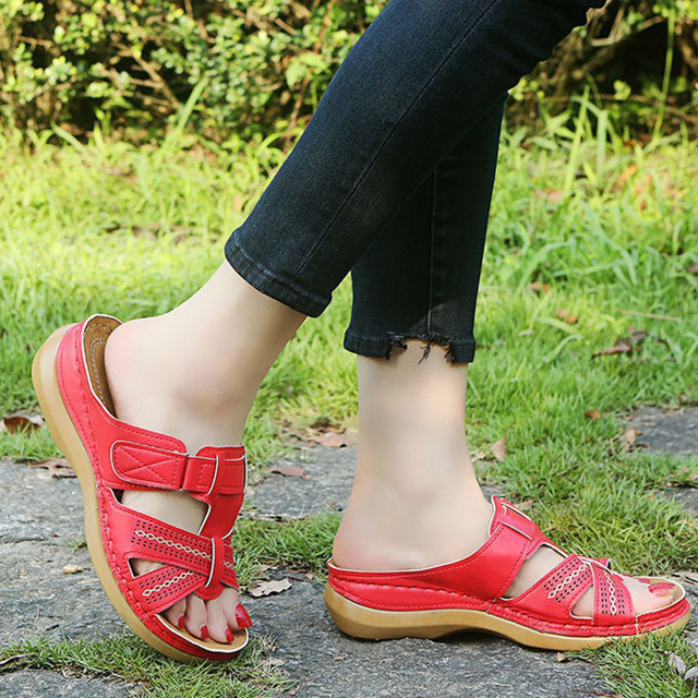 2020 Summer Women Wedge Sandals Premium Orthopedic Open Toe Sandals Vintage Anti-slip Leather Casual Female Platform Retro Shoes 5