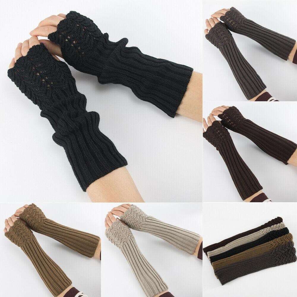 Women Fingerless Long Gloves Thumbhole Knit Arm Warmer Sleeve Elbow Length UK