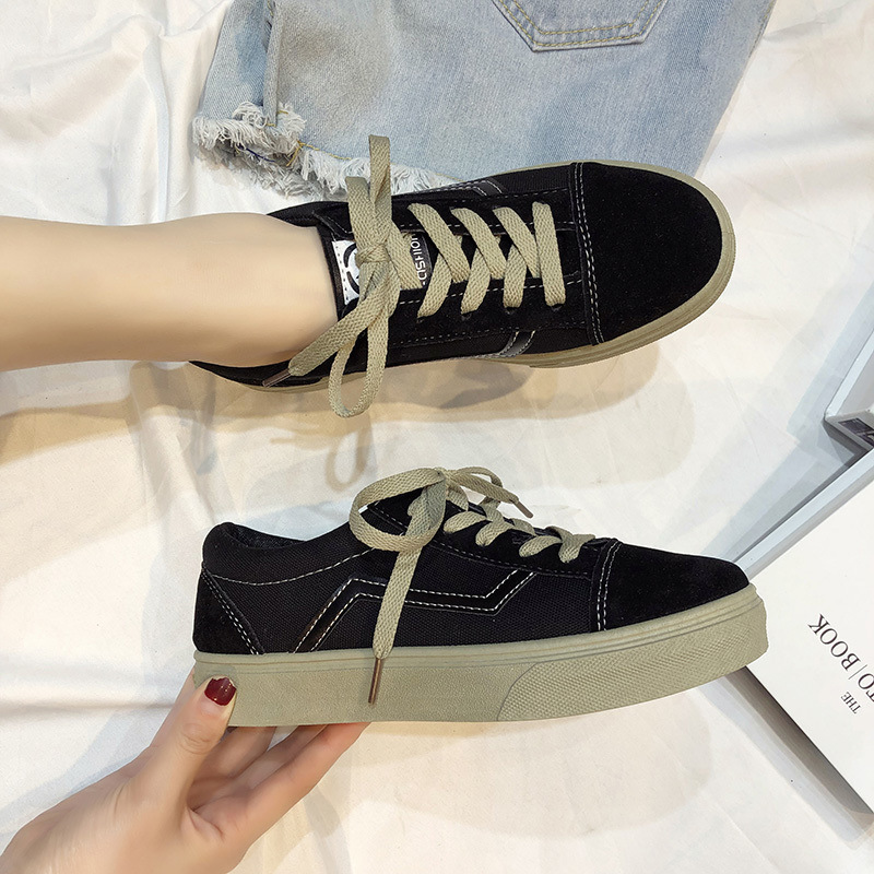 Image 4 - SWYIVY Canvas Shoes Women Sneakers Lace Up Flat Woman Casual Shoes Spring 2020 New Striped Sneakers For Women Shoe Ladies FlatWomens Vulcanize Shoes   -