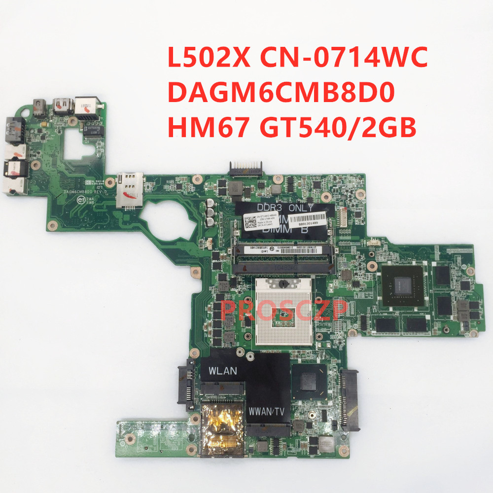 Для DELL XPS L502X материнская плата для ноутбука CN-0714WC 0714WC 714WC с DAGM6CMB8D0 HM67 GT540/2 ГБ 100% полностью протестирована