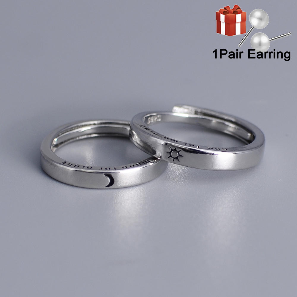 Adjustable Size Ring Sun Moon Couple Rings Minimalist Silver Color Opening Rings For Men Women Couple Engagement Jewelry Gift