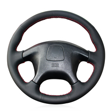 Hand Sew Black Genuine Leather Car Steering Wheel Cover for Mitsubishi Pajero Old Sport