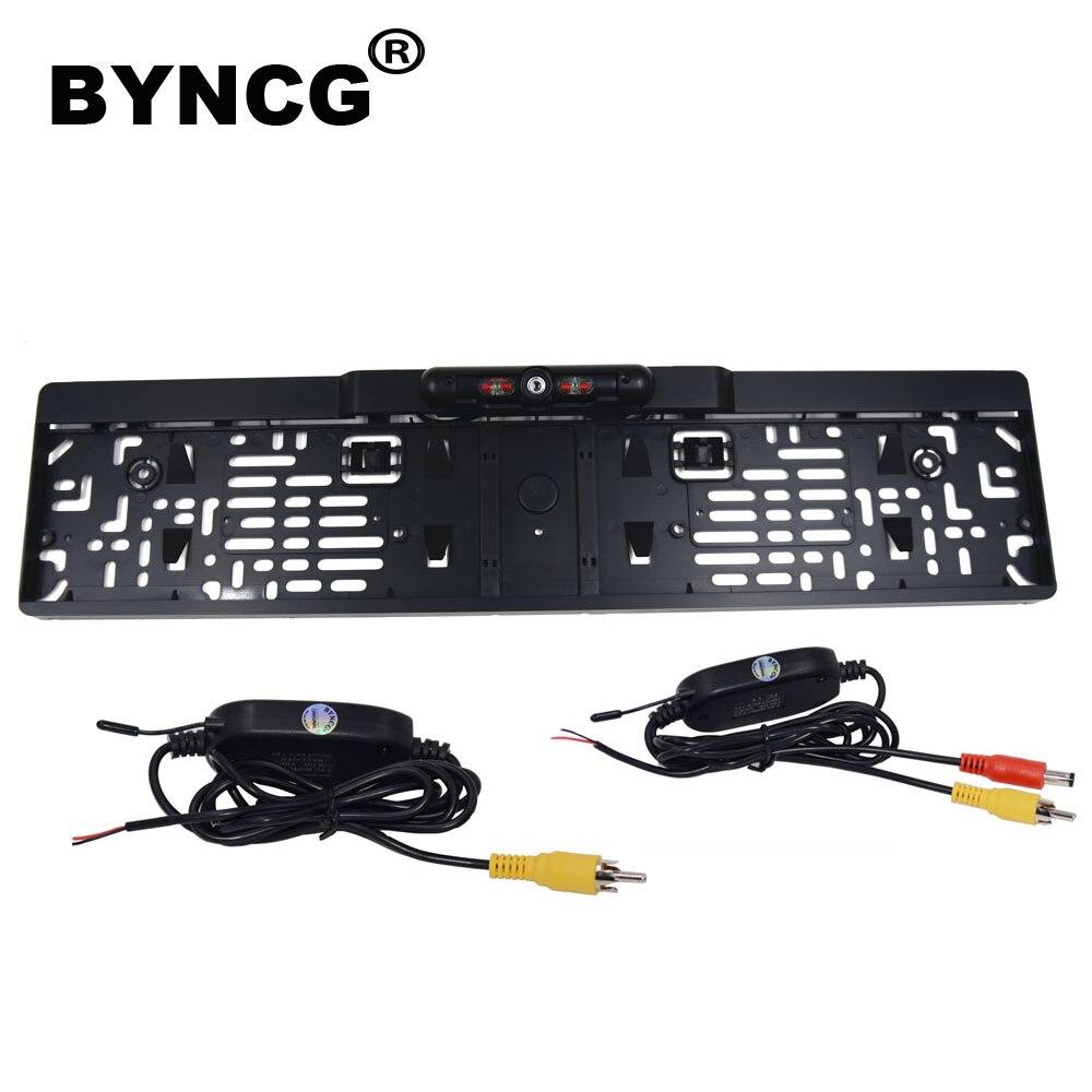 BYNCG 2019 nouveauté cadre de plaque d'immatriculation de voiture européenne Auto recul caméra de recul 12LED Vision nocturne CCD universelle